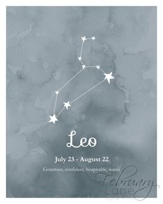 Leo Zodiac Constellation Wall Art Printable 8x10 by FebruaryLane