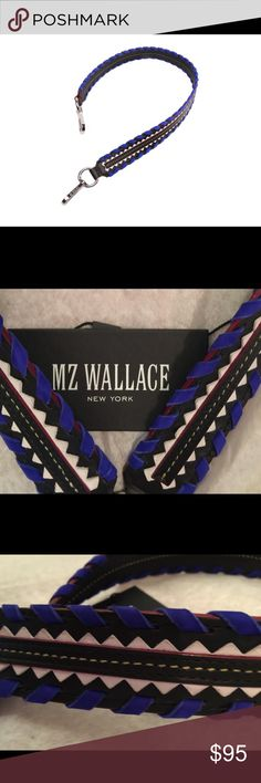 🆕 MZ Wallace Guitar Strap 💯% authentic MZ Wallace Guitar Strap NWT Custom MZW silver hardware bright blue weave genuine Italian leather .  Ready to make your favorite MZW bag Rock   (21 L x 1.5 W ) never been used MZ Wallace Bags