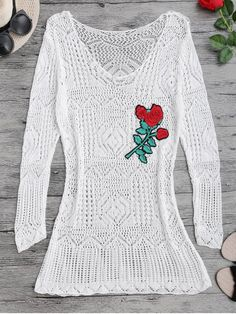 Long Sleeves Open Stitch Beach Cover Up Dress - WHITE ONE SIZE