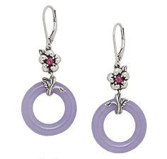 Jade of Yesteryear Lavender Jade  Rhodolite Sterling Silver Earrings