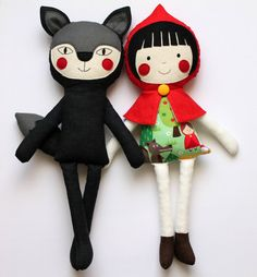Red Riding Hood and  Wolf handmade stuffed play set. Rag dolls for children. Fairytale characters
