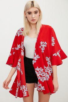 Kimchi Blue Ruffle Dreams Floral Print Kimono Jacket
