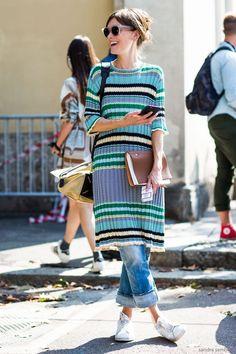 Dress over pant – Jo Ellison