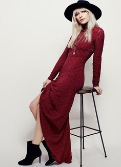 NEW Free People red wine Puckered Lace Turtleneck Stretchy Maxi Swingy Dress XS #FreePeople #stretchdressMaxiDress #AnyOccasion