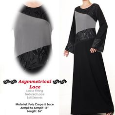 Textured Lace Modest Islamic Abaya Long Sleeves Maxi by MissMode21, $27.00