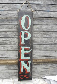 Open Sign hand painted faux vintage wooden by ZekesAntiqueSigns