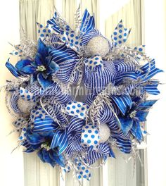 Deco Mesh CHRISTMAS Royal Blue White Silver Wreath For Door or Wall $83 by www.southerncharmwreaths.com
