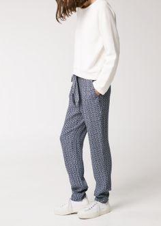 Pantalón estampado lazada