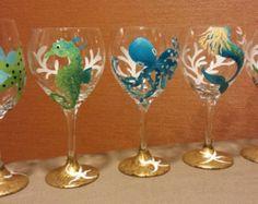 Coastal inspired, hand painted wine glasses- 18 dollars each