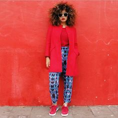 fashion, street style, red outfit, sneakers, curly hair, afro hair, black women, prints, inspiration
