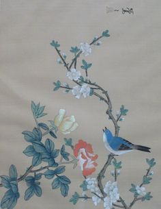 Original Japanese Silk Painting Of Bird Perched On Branch and Foliage in mixed media of Gouache, Watercolour and Ink signed by the artist by VintageAndCurrent on Etsy