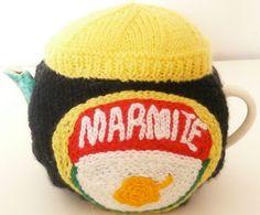Hand knitted Marmite tea cosy | Fantastic Supermarket