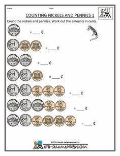 Free money counting printable worksheets - Kindergarten, 1st grade