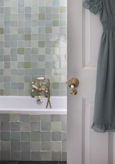 The feature of the family bathroom is a floor to ceiling tiles, handcut and glazed in Morocco. The shower mixer tap is Victorian. Retro Furniture, Antique Furniture, Shower Mixer Taps, Blog Design Inspiration, Family Bathroom, Ceiling Tiles, Yoko, Mid Century Furniture, Bad