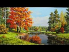 Woodland scenery. Early autumn in the forest. Step by step oil painting ...