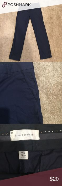Gap pants Gap true straight navy trim pants. Inseam is about 29 inches. Size 2R GAP Pants Straight Leg
