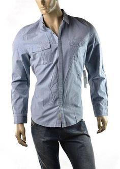 Calvin Klein Shirt Mens Neps Button Up Slub Utility Pocket Shirts Blue SZ L NEW #CalvinKlein #ButtonFront