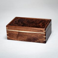 Wood Mens Box, Keepsake Box, Treasure Box Walnut With Walnut Burl Lid. The…