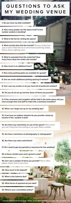 Wedding Checklist 23 questions to ask my wedding venue by Allyson VinZant Events. Wedding Planning Tips For Grooms Wedding Planning Tips, Wedding Tips, Event Planning, Budget Wedding, Bridal Tips, Planning Board, Diy Wedding, Engagement Party Planning, Destination Wedding