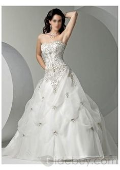 Embroidery Pick-up Ball Gown Strapless Court Train Lace-up Wedding Gowns WM-0132