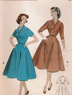 1950s Butterick 7028 UNCUT Vintage Sewing Pattern Teen's Dress Size 12 Bust 30