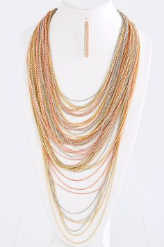DaVinci Layered Chain Necklace and Earring Set
