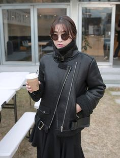 [MIAMASVIN] FAUX LEATHER BUCKLED NECK RIDER JACKET