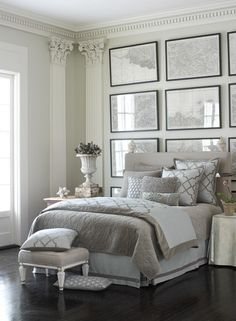 ~ Living a Beautiful Life ~ Luxe grey and white bedroom frame wall decor sophisticated feminine Furniture, White Bedroom, Bedroom Frames, Interior, Home, Home Bedroom, House Interior, Bedroom Inspirations, Interior Design