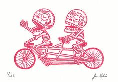 Dia De Los Muertos Tandem Riders: Artwork By Jose Pultido