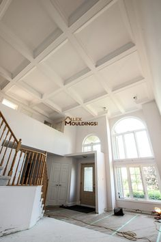 Waffle Ceiling Together With Wainscotings And Wall Trim Coffered - Cornice crown moulding toronto wainscoting coffered ceiling