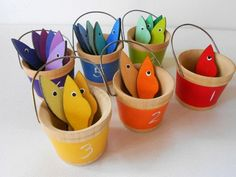 Gone Fishing kids wood montessori color by laughingcrickets, Try and DIY - make with buckets and sewn fish or other shape? And maybe on backside of buckets and items there are numbers so it is both a color and counting activity in one? Montessori Color, Montessori Toddler, Toddler Crafts, Preschool Crafts, Diy For Kids, Crafts For Kids, Numbers For Kids, Teaching Colors, Rainbow Fish
