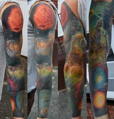 Space sleeve by Dan Henk via nprfreshair with Terry Gross: Pretty much the most intense shoulder ever.  Pretty much out of this world. #Tattoo #Dan_Henk