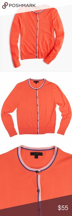 "New JCREW Flame Tipped Jackie Cardigan Sweater NWOT. This new orange flame merino tipped Jackie cardigan from JCREW features button closures. Made of 100% merino wool. Light weight. Measures: bust: 36"", total length: 23"", sleeves: 24.5"" J. Crew Sweaters Cardigans"