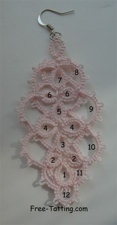 Free Tatting Patterns � Tatted Earrings #4 by Gaby Bautista