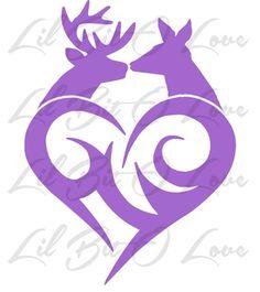 Buck and Doe Kissing Tribal Heart Vinyl Decal Deer Couple Sticker  | LilBitOLove - Housewares on ArtFire