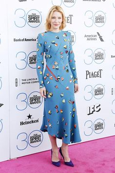 Cate Blanchett in a blue and butterfly print Schiaparelli dress at 2015 Film Independent Spirit Awards