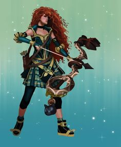 *Shrugs* Hey, you've seen Disney princesses mashed up with pretty much everything at this point, so why not Kingdom Hearts? Check out more characters in the series from Art By Stan below. Disney Princess Warriors, Disney Princess Art, Warrior Princess, Disney Fan Art, Disney Pixar, Disney And Dreamworks, Disney Magic, Merida Disney, Cute Disney