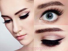 Maquillaje Cat Eye - Look trendy que da un look fuerte y feroz, además de que combina con el color de labios rojos