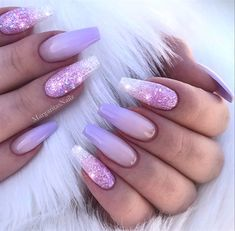 Lilac Ombré Glitter Coffin Nails by MargaritasNailz