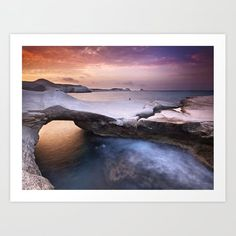 Sarakiniko rocky beach at sunset time in Milos island Greece. Art Print by Kostas Pavlis - X-Small Greece Art, From The Ground Up, Buy Frames, All Over The World, Printing Process, Gallery Wall, Waves, Island, Art Prints
