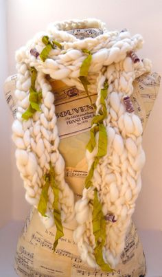 Anastasia Scarf in Natural Cream Handspun Merino by AudreyKnitted, $99.00