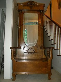Antique Large Tiger Oak Hall Tree 1880s era Solid Wood Furniture Estate Piece