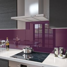 Deep Purple - Kitchen Glass Splashback - Wide x High - Premier Range Glass Kitchen, Kitchen Tiles, Kitchen Decor, Dad's Kitchen, Kitchen Board, Cheap Kitchen, Wooden Kitchen, Kitchen Stuff, Country Kitchen