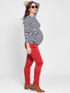 Black and white stripes and red - a favourite for maternity wear.