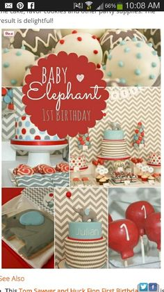 Blue red and gray chevron elephants