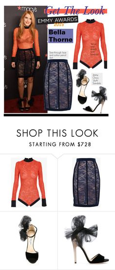 """Get The Look: Bella Thorne"" by hamaly ❤ liked on Polyvore featuring Balmain, Jimmy Choo, RedCarpet, CelebrityStyle, BellaThorne, emmyawards and emmyredcarpet"