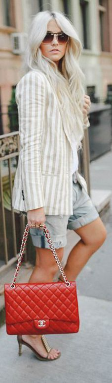 Nyfw: Stripes Dressed Down   She looks so cute with her new red chanel handbag and her beautiful long hair...