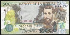 Colombia - Cédula em ótimo estado de conservação no valor de 5.000 Pesos! Rara!