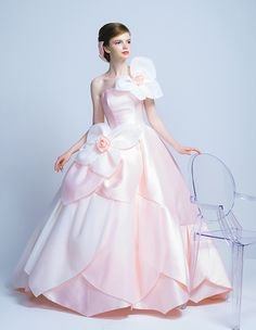 Flower appliqué pale pink and white wedding gown