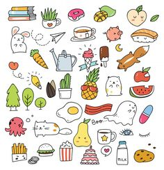 Set of various cute icons in doodle style Mini Drawings, Kawaii Drawings, Doodle Drawings, Easy Drawings, Tumblr Stickers, Cute Stickers, Free Printable Stickers, Doodles Kawaii, Doodles Bonitos